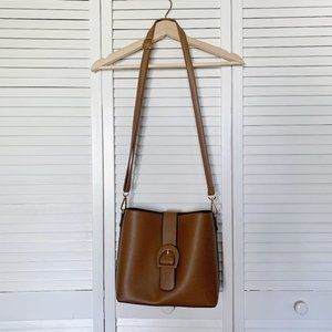 Brown Faux Leather Two-Way Crossbody Bag